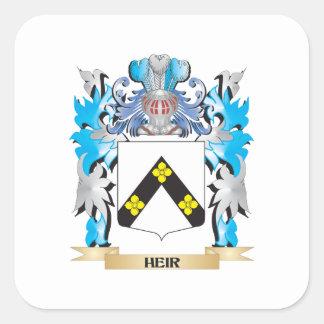 Escudo de armas del heredero - escudo de la pegatina cuadradas personalizada