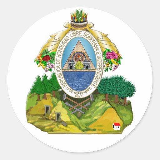 Escudo de armas del Honduran del emblema de Pegatina Redonda