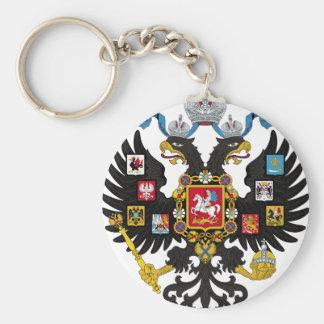 Escudo de armas del imperio ruso llavero redondo tipo pin