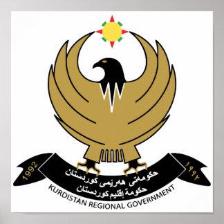 Escudo de armas del Kurdistan Poster