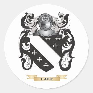 Escudo de armas del lago (escudo de la familia) pegatina redonda