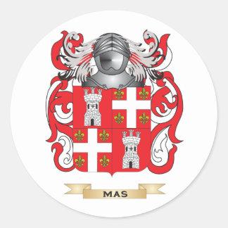 Escudo de armas del Mas (escudo de la familia) Pegatinas Redondas