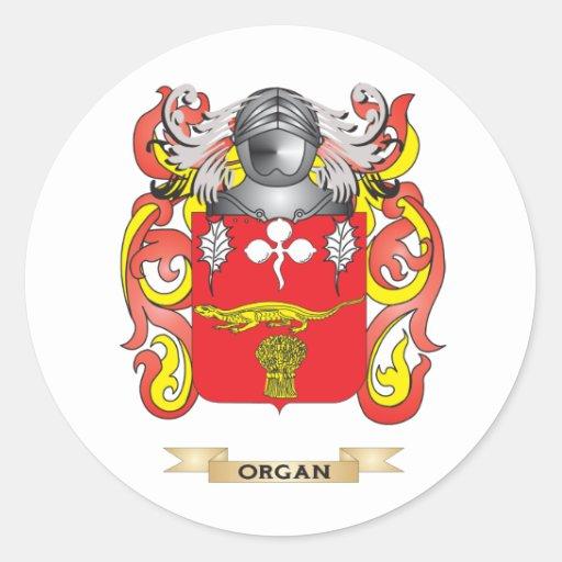Escudo de armas del órgano (escudo de la familia) pegatina redonda