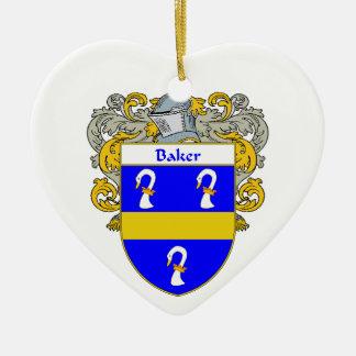 Escudo de armas del panadero/escudo de la familia adorno de cerámica en forma de corazón