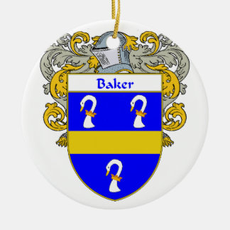 Escudo de armas del panadero/escudo de la familia adorno redondo de cerámica