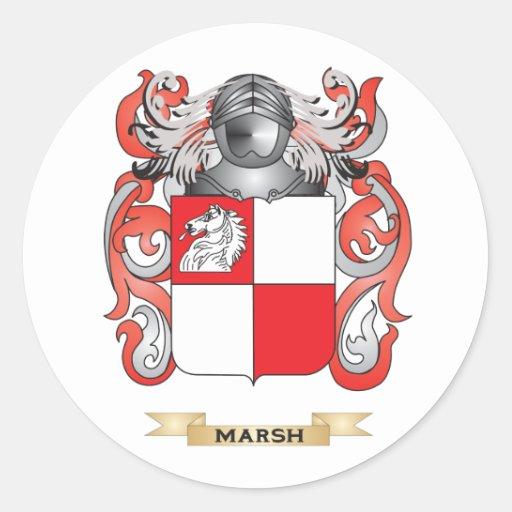 Escudo de armas del pantano (escudo de la familia) etiqueta redonda