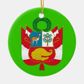 Escudo de armas del personalizado de PERU* Adorno Navideño Redondo De Cerámica