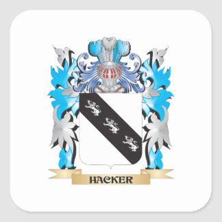 Escudo de armas del pirata informático - escudo de colcomanias cuadradas personalizadas