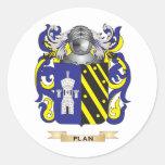 Escudo de armas del plan (escudo de la familia) pegatinas redondas
