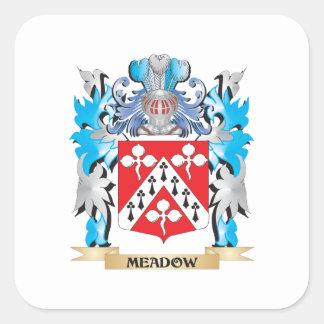 Escudo de armas del prado - escudo de la familia calcomanía cuadradas personalizadas