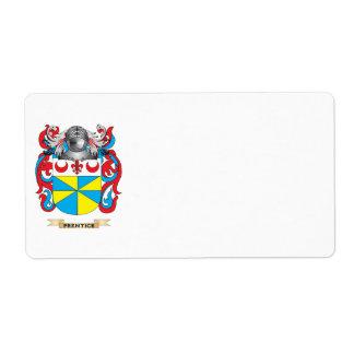 Escudo de armas del Prentice (escudo de la familia Etiquetas De Envío