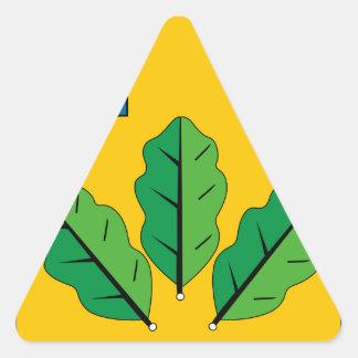 Escudo de armas del rayón de Novoburassky Pegatina Triangular