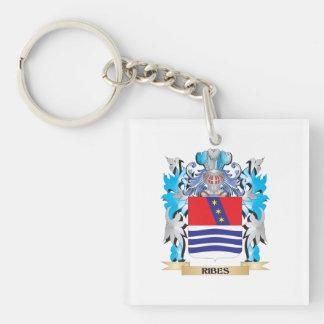 Escudo de armas del Ribes - escudo de la familia Llavero Cuadrado Acrílico A Una Cara