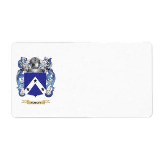 Escudo de armas del robot escudo de la familia etiquetas de envío