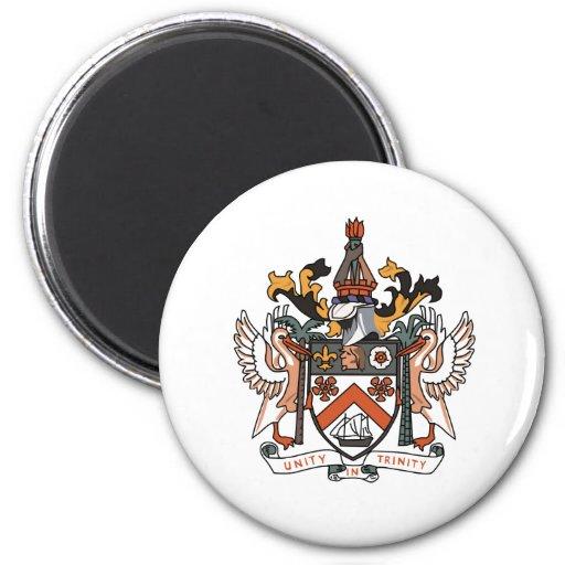 Escudo de armas del St San Cristobal Imán Redondo 5 Cm