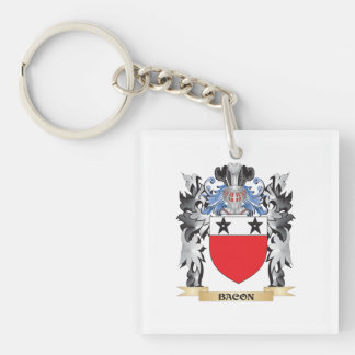Escudo de armas del tocino - escudo de la familia llavero cuadrado acrílico a una cara