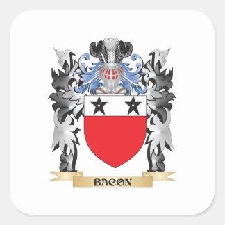 Escudo de armas del tocino - escudo de la familia pegatina cuadrada