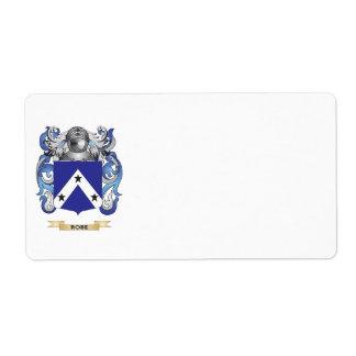 Escudo de armas del traje escudo de la familia etiqueta de envío