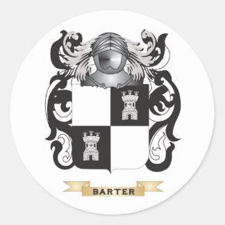 Escudo de armas del trueque (escudo de la familia) etiqueta redonda