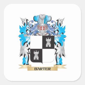 Escudo de armas del trueque calcomanía cuadradas