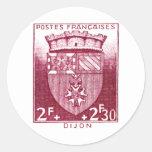 Escudo de armas, Dijon Francia Pegatina Redonda