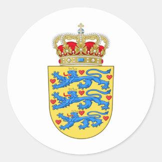 Escudo de armas DK de Dinamarca Pegatina Redonda