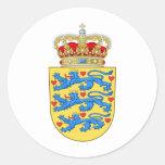 Escudo de armas DK de Dinamarca Pegatinas Redondas