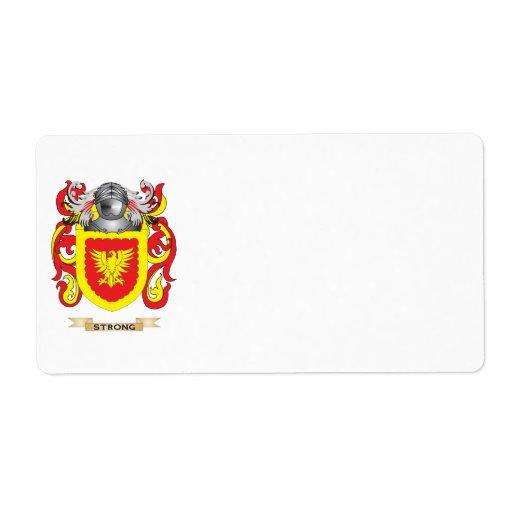 Escudo de armas fuerte (escudo de la familia) etiquetas de envío