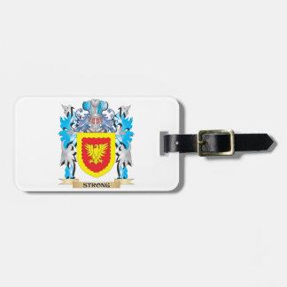 Escudo de armas fuerte - escudo de la familia etiquetas maleta