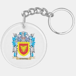 Escudo de armas fuerte - escudo de la familia llavero redondo acrílico a doble cara
