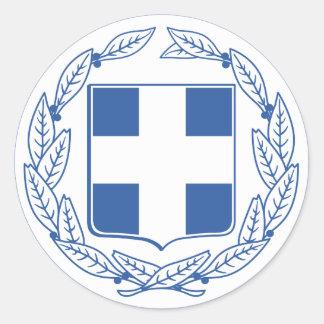 Escudo de armas GR de Grecia Pegatina Redonda