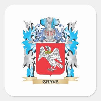Escudo de armas grave - escudo de la familia colcomanias cuadradas