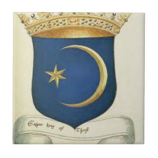 Escudo de armas histórico azulejo cuadrado pequeño