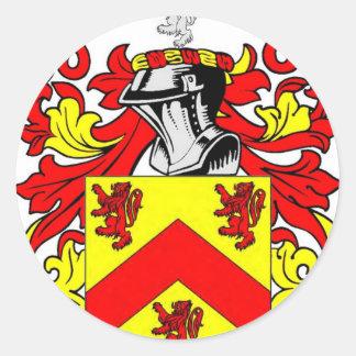 Escudo de armas (irlandés) de Hughes Pegatina Redonda