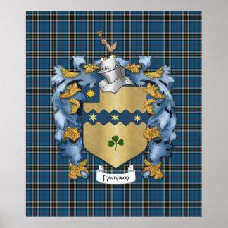 Escudo de armas (irlandés) de la familia de Thomps Póster