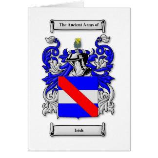 Escudo de armas irlandés tarjeta de felicitación