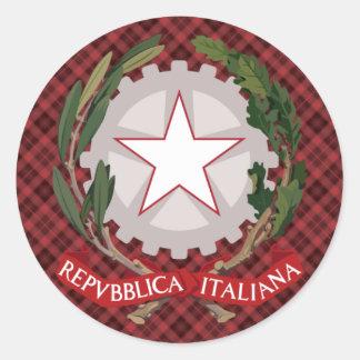 Escudo de armas italiano pegatina redonda