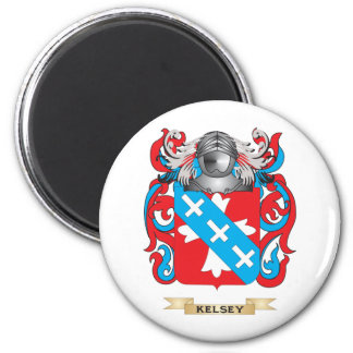 Escudo de armas Kelsey-2 (escudo de la familia) Imán Redondo 5 Cm