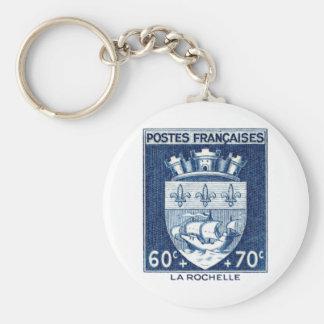 Escudo de armas, La Rochelle Francia Llavero Redondo Tipo Pin
