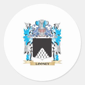 Escudo de armas Looney - escudo de la familia Pegatina Redonda
