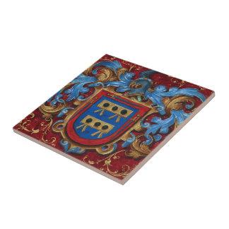 Escudo de armas medieval azulejo cuadrado pequeño