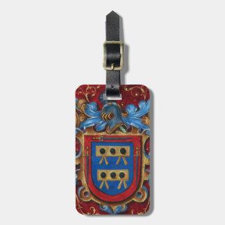 Escudo de armas medieval etiqueta de maleta