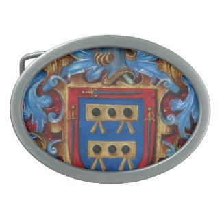 Escudo de armas medieval hebillas cinturón ovales
