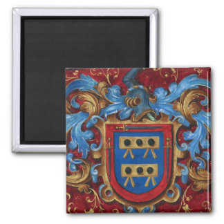 Escudo de armas medieval imán cuadrado
