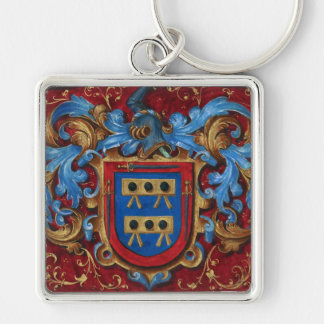 Escudo de armas medieval llavero cuadrado plateado