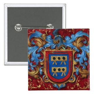 Escudo de armas medieval pin cuadrada 5 cm
