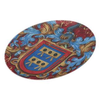 Escudo de armas medieval plato para fiesta