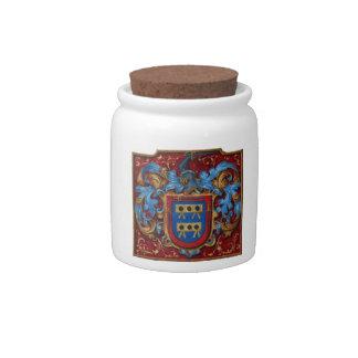 Escudo de armas medieval platos para caramelos