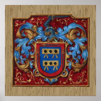 Escudo de armas medieval póster