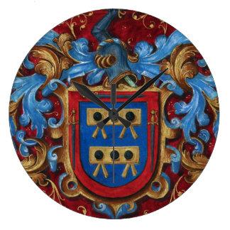 Escudo de armas medieval reloj redondo grande